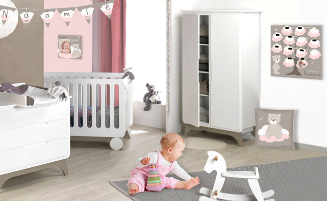 Decoration chambre marron for Deco chambre bebe fille gris rose