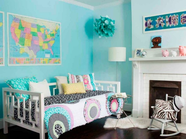 Deco chambre fille turquoise for Deco chambre bebe bleu turquoise