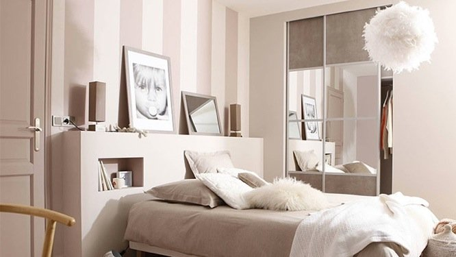 chambre adulte beige et rose poudre. Black Bedroom Furniture Sets. Home Design Ideas