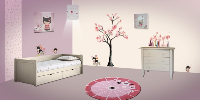 D co chambre fille kokeshi for Peinture decoration chambre fille