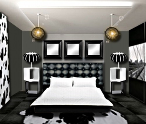 decoration chambre noir blanc gris visuel 8. Black Bedroom Furniture Sets. Home Design Ideas
