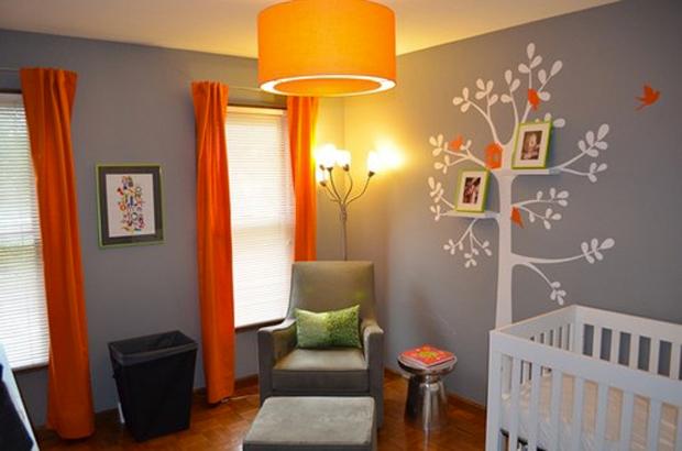 decoration chambre orange et vert - visuel #8