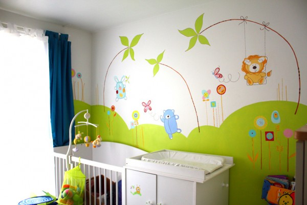 Idee chambre bebe jungle visuel 9 for Chambre de bb dcoration