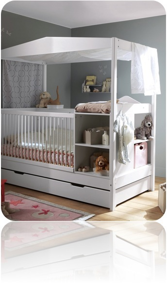Lit bebe evolutif sans barreaux visuel 9 for Lit bebe avec table a langer integree