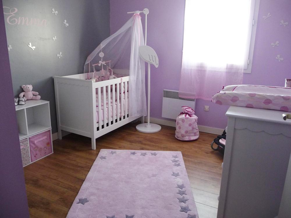 Chambre gris et lilas deco du violet pour une chambre chic en photos
