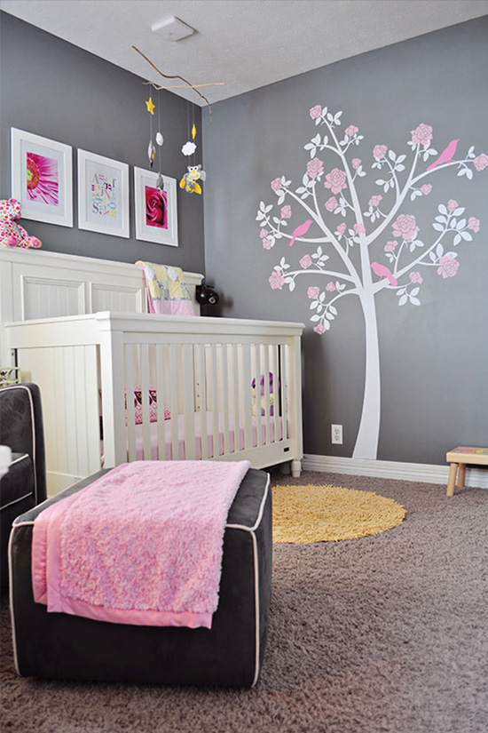 deco chambre fille gris et rose - visuel #5
