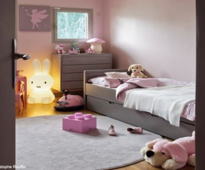 deco chambre fille gris et rose