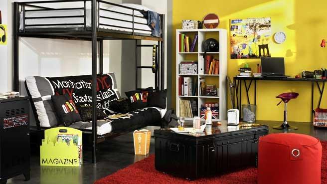 deco chambre noir et jaune. Black Bedroom Furniture Sets. Home Design Ideas