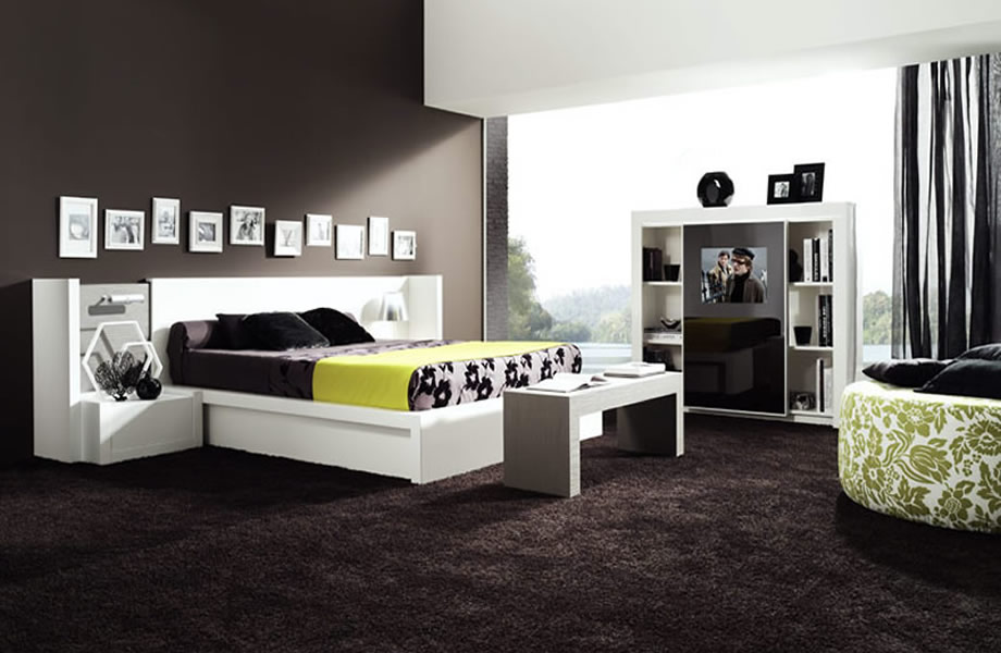 decoration chambre a coucher contemporaine visuel 1. Black Bedroom Furniture Sets. Home Design Ideas