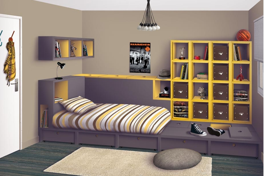 decoration chambre ado mansardee visuel 3. Black Bedroom Furniture Sets. Home Design Ideas