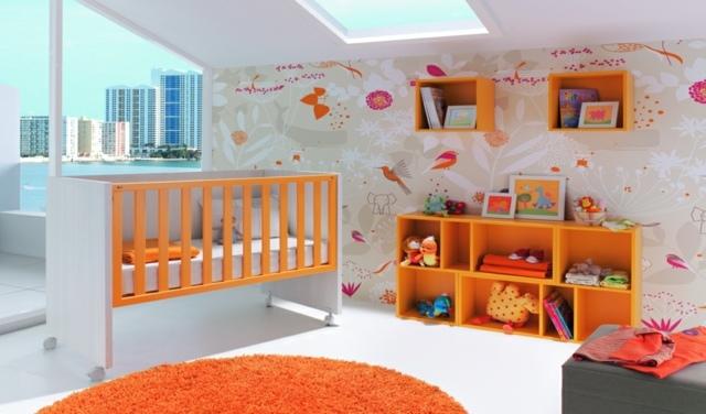 Chambre bébé fille orange et gris - Bébé, doudou univers