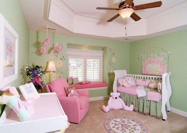 decoration chambre vert et rose - visuel #2