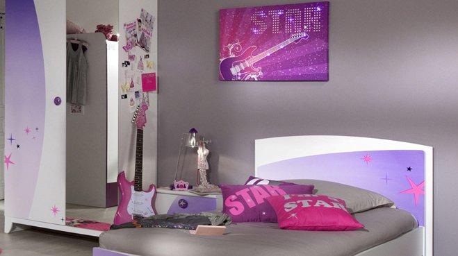 Chambre jeune fille rose for Decoration chambre gris et fushia