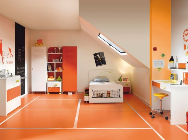 Amazing Chambre Orange Et Gris Idees - Idées décoration intérieure ...