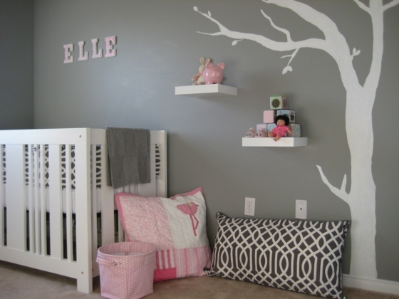 idee deco chambre bebe fille rose et gris - Idee Deco Chambre Bebe Fille