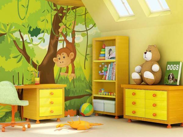 idee decoration chambre bebe jungle , visuel 2