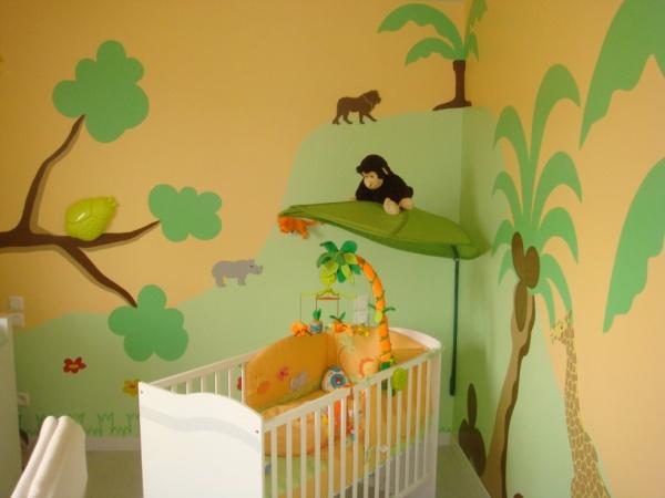 idee decoration chambre bebe jungle , visuel 3