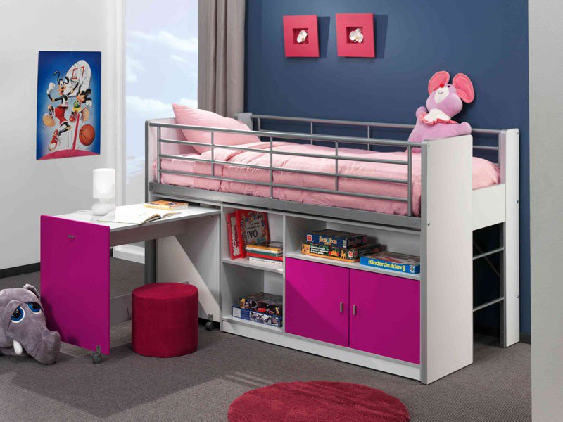lit superpose avec bureau pour fille visuel 4. Black Bedroom Furniture Sets. Home Design Ideas