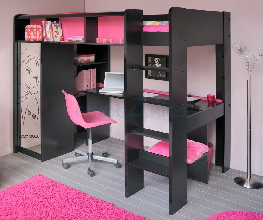lit superpose avec bureau pour fille visuel 5. Black Bedroom Furniture Sets. Home Design Ideas