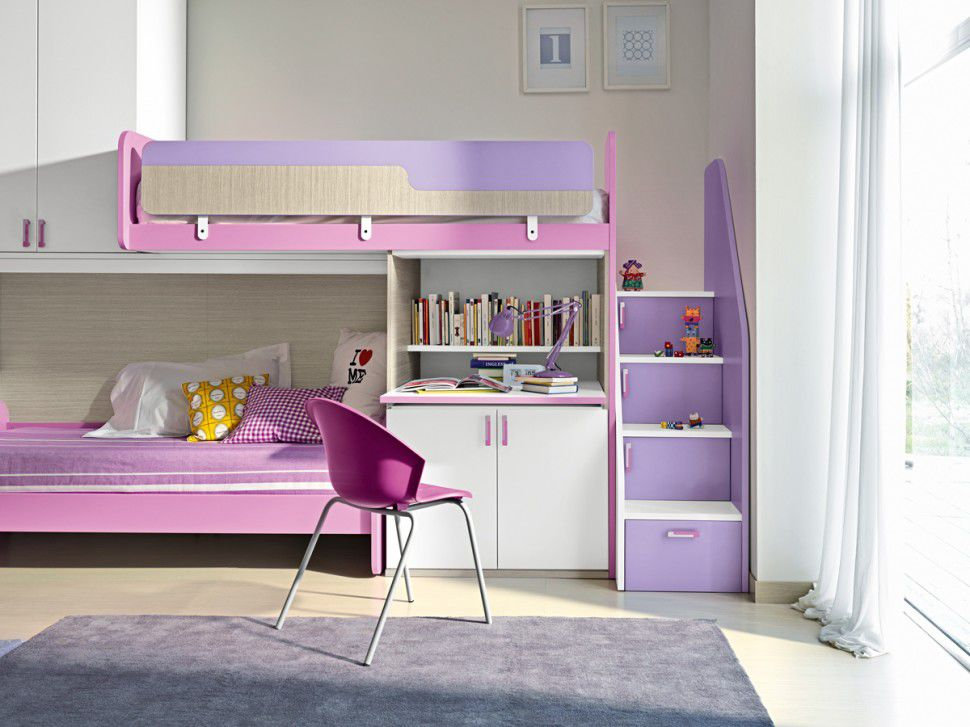 lit superpose avec bureau pour fille visuel 7. Black Bedroom Furniture Sets. Home Design Ideas