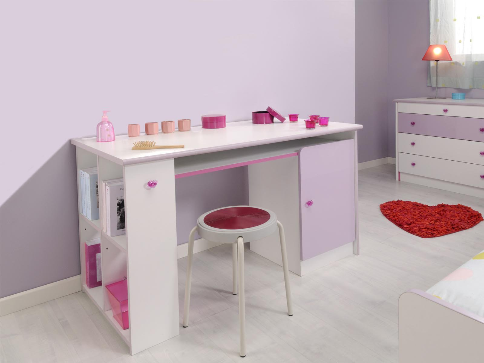 Bureau Fille Rose Et Blanc Remc Homes