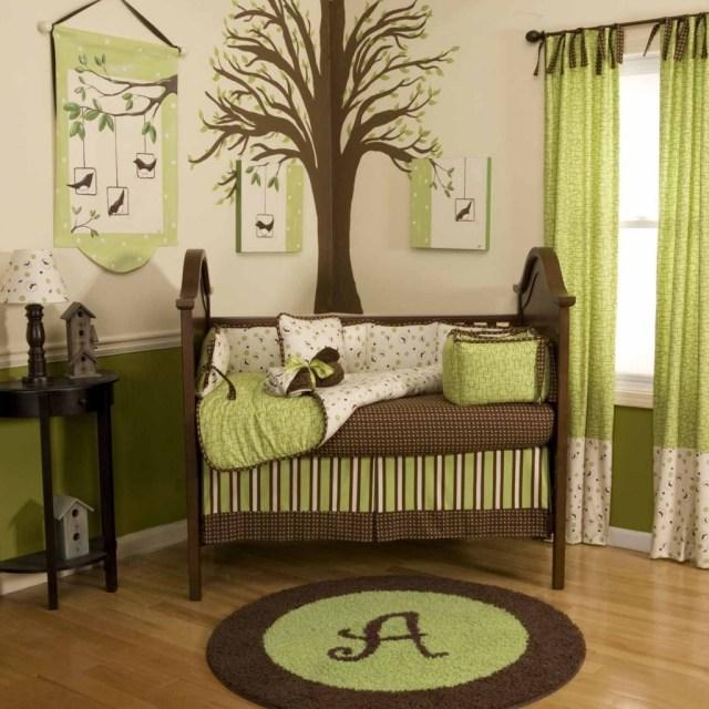 deco chambre bebe vert et marron - visuel #3