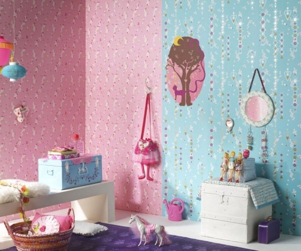 decoration chambre fille bleu et rose