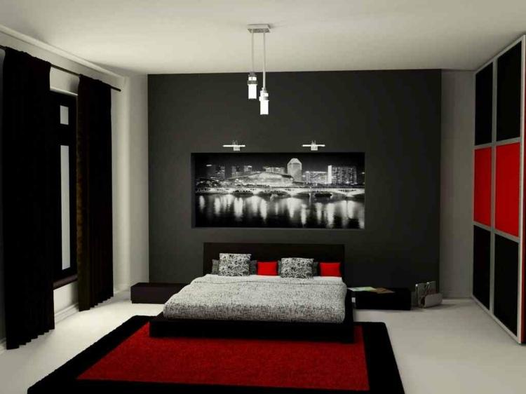 decoration chambre en rouge et blanc. Black Bedroom Furniture Sets. Home Design Ideas