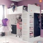 decoration chambre fille avec lit mezzanine