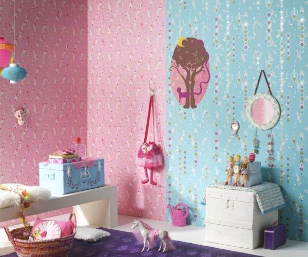 Decoration Chambre Fille Bleu Et Rose Visuel 1