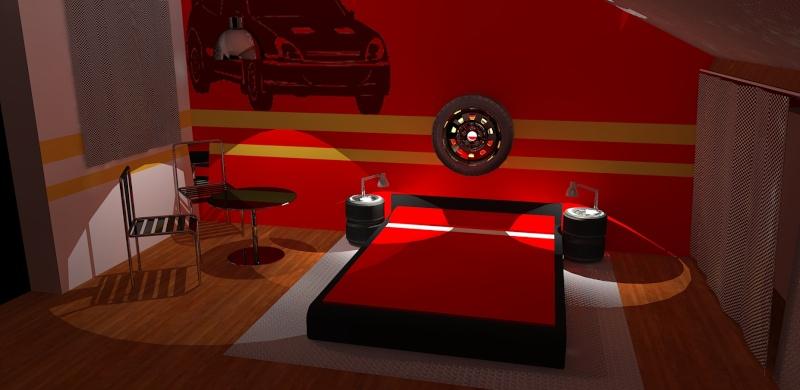 chambre deco ferrari visuel 5. Black Bedroom Furniture Sets. Home Design Ideas