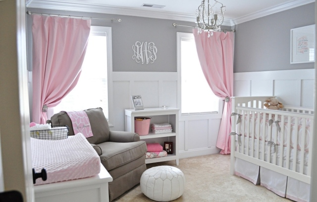 chambre bebe fille gris rose