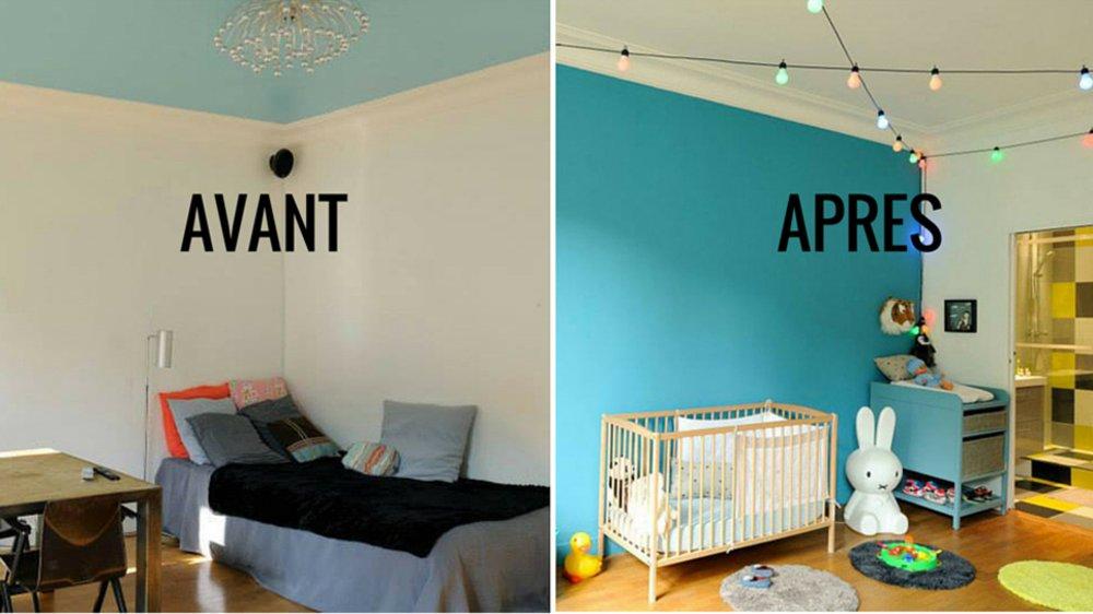 idee deco chambre avant apres. Black Bedroom Furniture Sets. Home Design Ideas