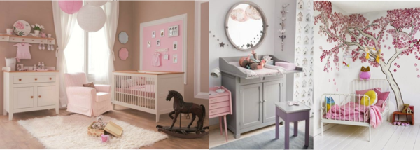 Chambre bebe marron rose for Decoration chambre bebe fille rose et gris