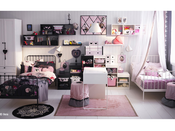 idee deco chambre pour 2 filles visuel 3. Black Bedroom Furniture Sets. Home Design Ideas
