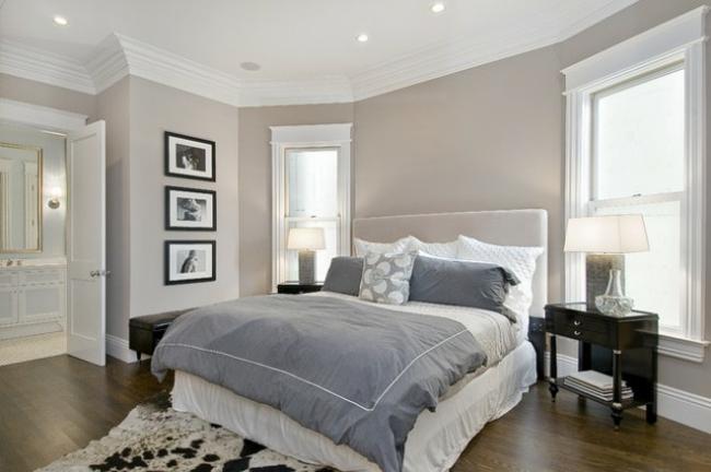 chambre deco gris blanc - visuel #4