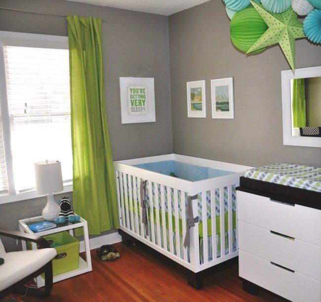 Chambre bébé garçon vert et gris - Idées de tricot gratuit