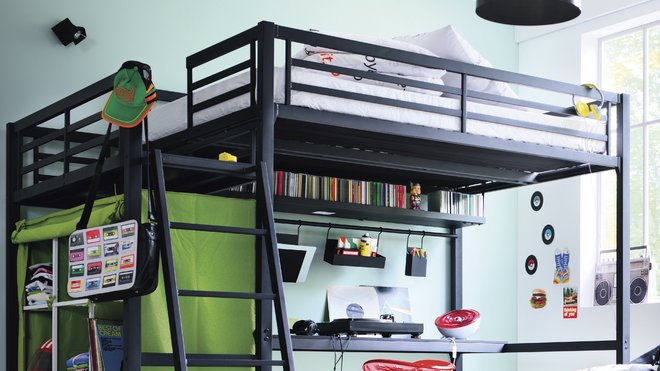 decoration chambre ado avec lit mezzanine visuel 4. Black Bedroom Furniture Sets. Home Design Ideas