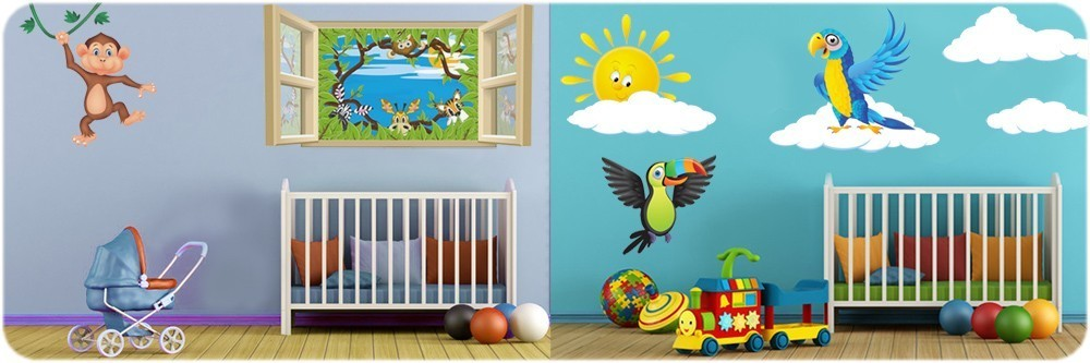 Decoration chambre bebe animaux savane for Stickers deco chambre garcon