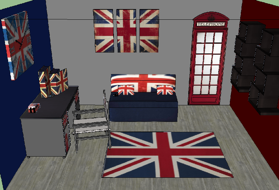 decoration chambre drapeau anglais visuel 4. Black Bedroom Furniture Sets. Home Design Ideas