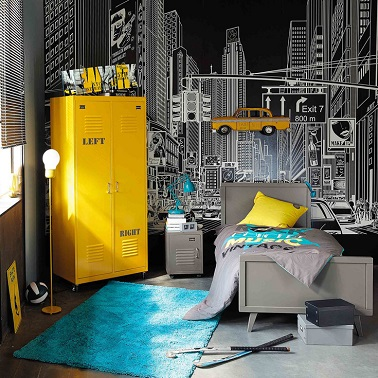 deco chambre ado gris et jaune visuel 4. Black Bedroom Furniture Sets. Home Design Ideas