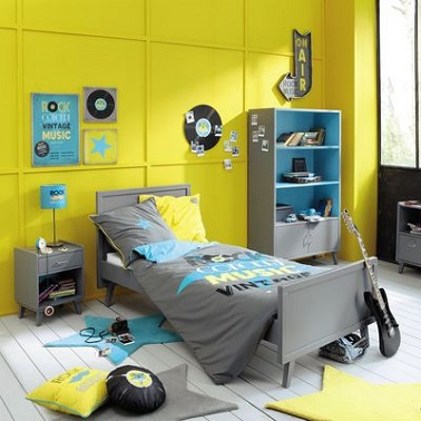 deco chambre ado gris et jaune visuel 7. Black Bedroom Furniture Sets. Home Design Ideas