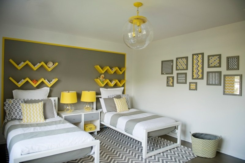 deco chambre ado gris et jaune visuel 8. Black Bedroom Furniture Sets. Home Design Ideas