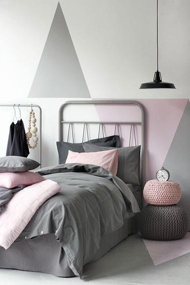 deco chambre ado rose et gris