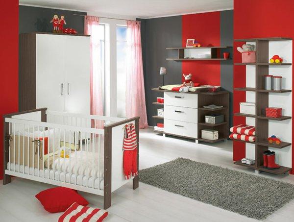 deco chambre bebe rouge et beige - visuel #3