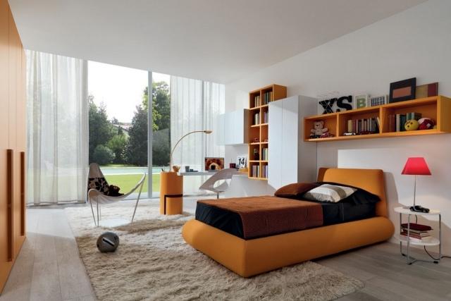 deco chambre orange et blanc - visuel #7