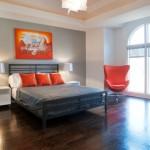 decoration chambre orange et gris