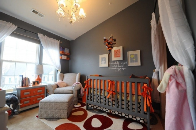 decoration chambre orange et gris