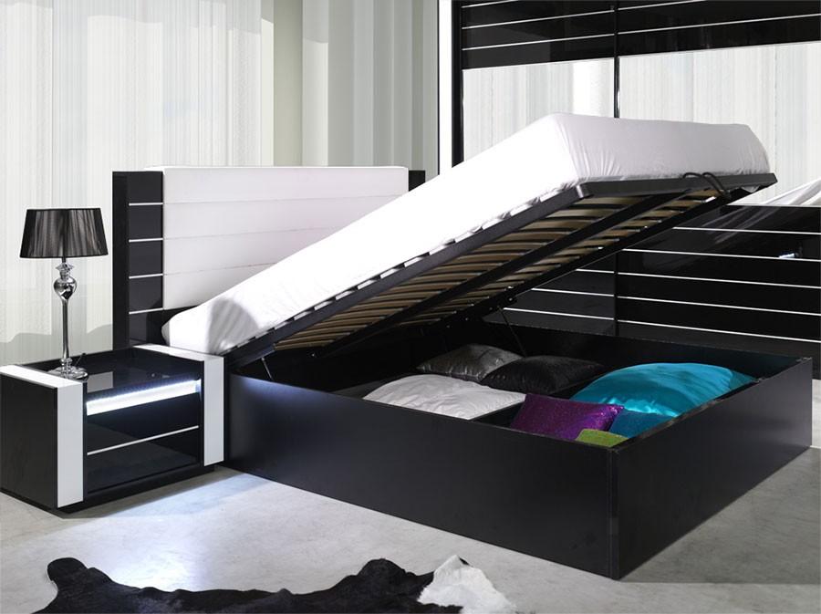 Bout de lit noir laque - Bout de lit capitonne noir ...