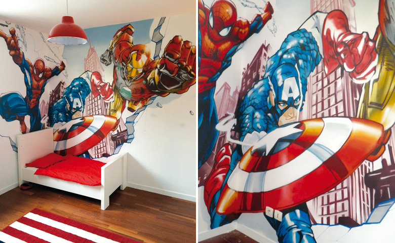 Chambre deco avengers for Decoration chambre spiderman